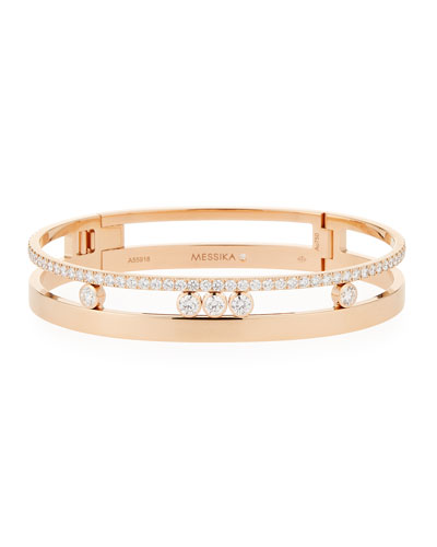 18k Gold Move Roman Large Diamond Bangle