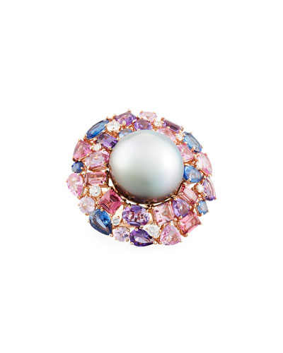 18k Spring Blush Pearl & Mixed Stone Ring, Size 6.5