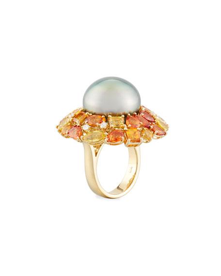 18k Autumn Blush Pearl & Mixed Stone Ring, Size 6.5