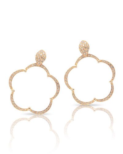 18k Diamond Floral Hoop Drop Earrings