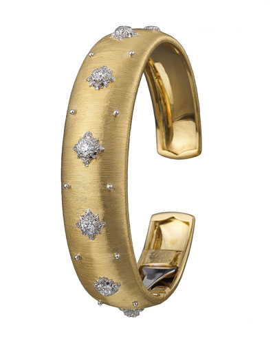 18k Macri Cuff Bracelet w/ Diamonds, Yellow Gold