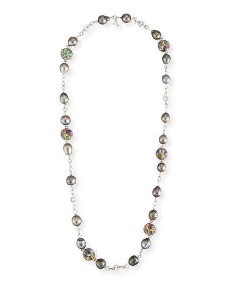 18k Diamond Chain & Pearl Necklace