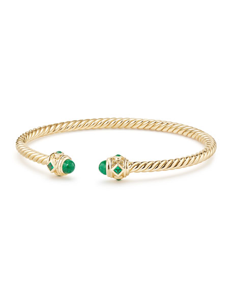 18k Gold Renaissance CableSpira Bangle Bracelet w/ Emeralds, Size M