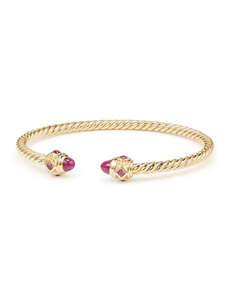 18k Gold Renaissance CableSpira Bangle Bracelet w/ Rubies, Size M