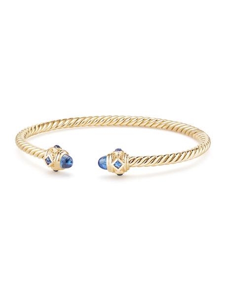 18k Gold Renaissance CableSpira Bangle Bracelet w/ Sapphires, Size M