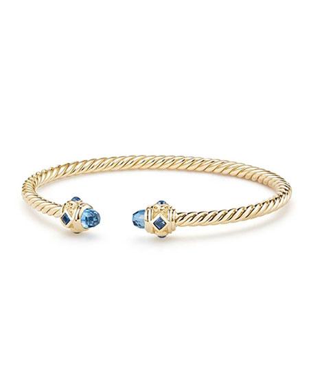 18k Gold Renaissance CableSpira Bangle Bracelet w/ Hampton Blue Topaz, Size M
