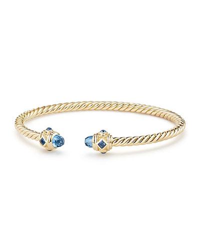 18k Gold Renaissance CableSpira Bangle Bracelet w/ Hampton Blue Topaz, Size L