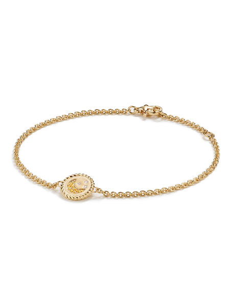 18k Cable Collectibles Pave Moon & Stars Bracelet