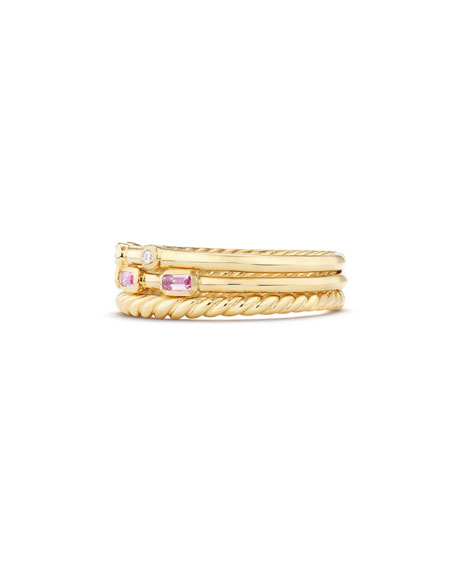 Novella 18k Three-Row Ring w/ Pink Sapphires, Size 7