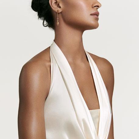 Novella 18k Linear Drop Earrings with Citrine/Sapphire