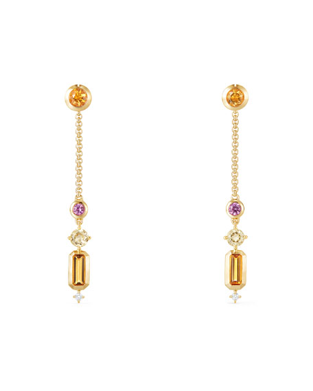 Novella 18k Linear Drop Earrings with Citrine/Sapphire