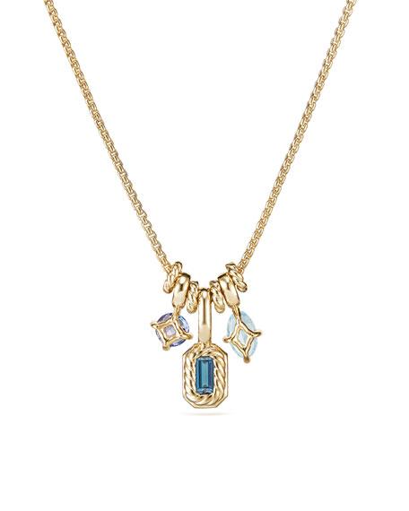 Novella Pendant Necklace in 18k Yellow Gold with Topaz & Aquamarine