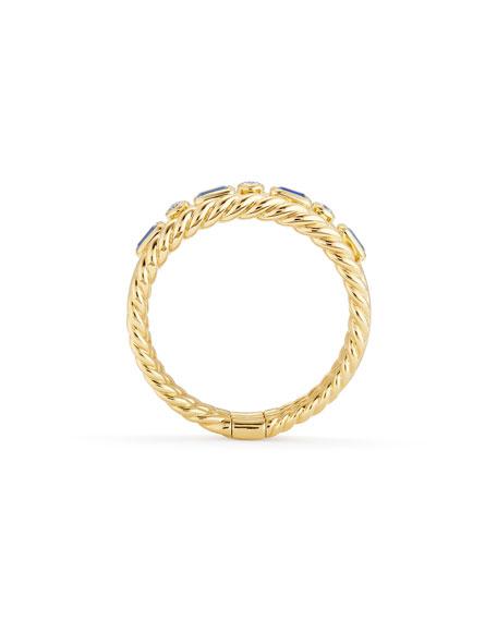 Novella 18k Three-Row Ring with Tanzanite & Diamonds, Size 7