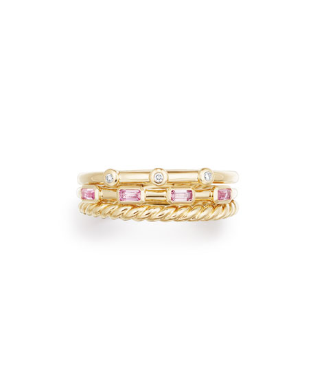 Novella 18k Three-Row Ring w/ Pink Sapphires, Size 6