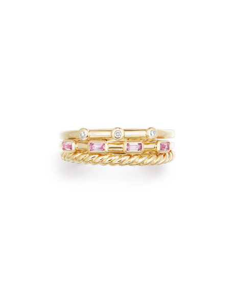 Novella 18k Three-Row Ring w/ Pink Sapphires, Size 8