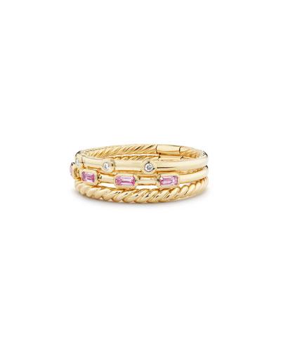 Novella 18k Three-Row Ring w/ Pink Sapphires, Size 8
