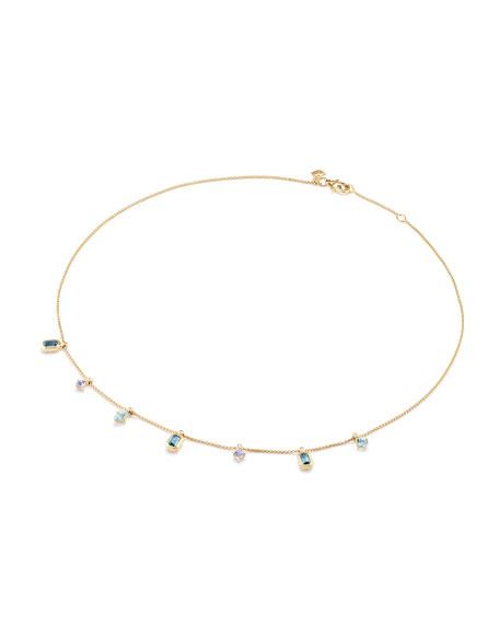Novella 18k Dangle Necklace with Blue Stones & Diamonds
