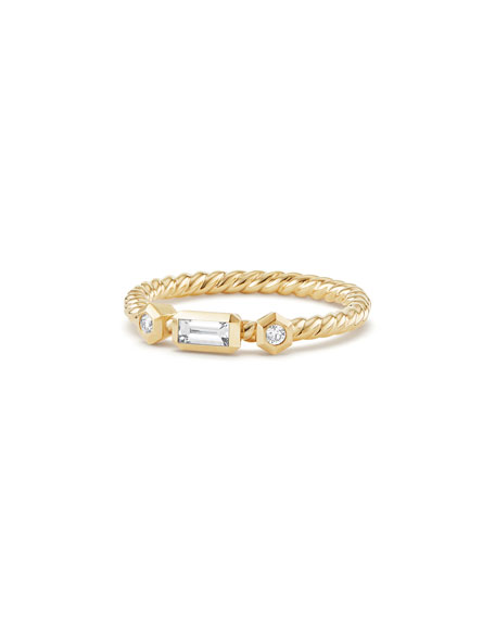 Novella 18k Baguette Diamond Stack Ring, Size 6