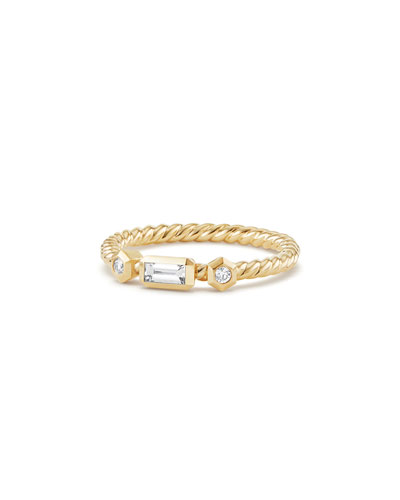 Novella 18k Baguette Diamond Stack Ring, Size 7
