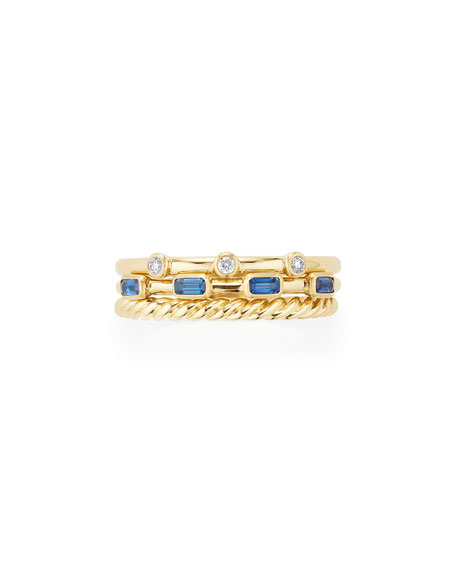 Novella 18k Three-Row Ring with Tanzanite & Diamonds, Size 6