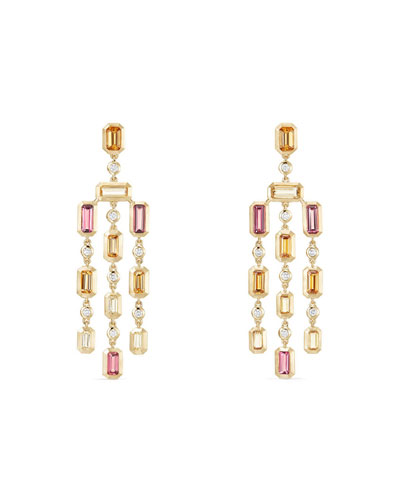 Novella 18k Statement Dangle Earrings in Garnet & Tourmaline