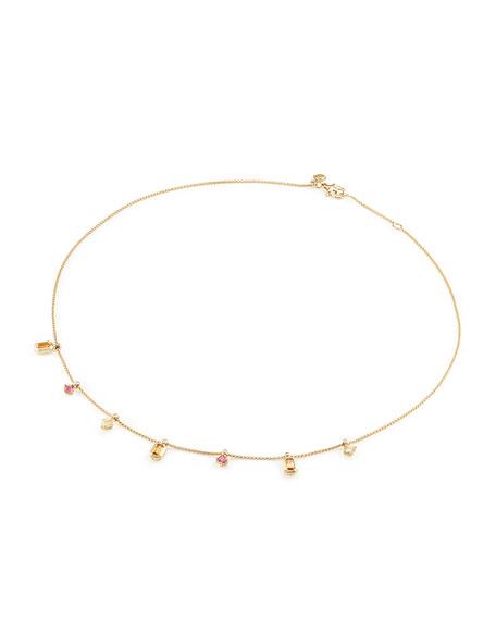 Novella 18k Dangle Necklace with Garnet, Beryl & Diamonds