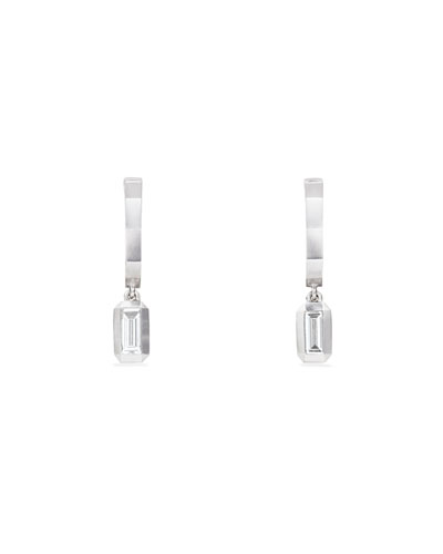 Novella Small Hoop Drop Earrings in 18k White Gold w/ Diamonds