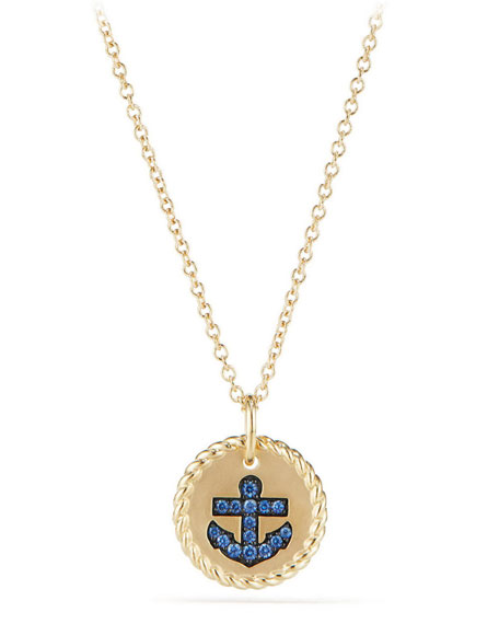 David Yurman 18k Cable Collectibles Anchor Sapphire Necklace