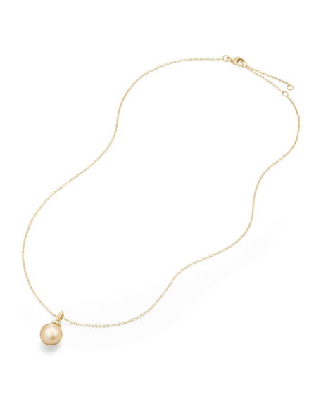Solari 18k Pearl Pendant Necklace w/ Diamonds, Golden