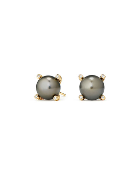 Solari 18k Tahitian Pearl Stud Earrings w/ Diamonds