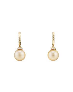 006bf3615 David Yurman 18k Solari Pearl Hoop Earrings w/ Diamonds