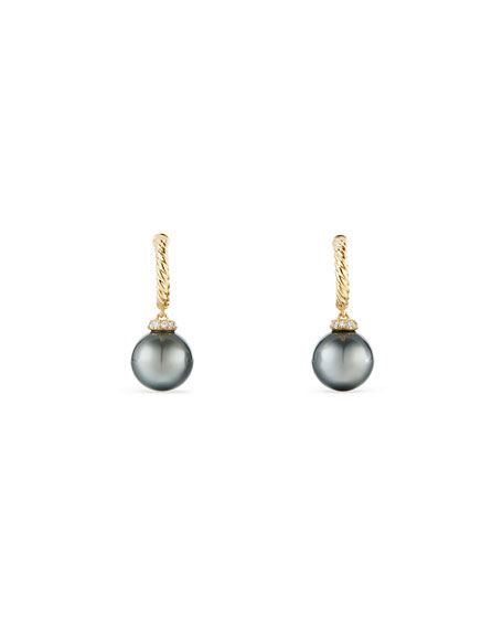 18k Solari Pearl Hoop Drop Earrings w/ Diamonds