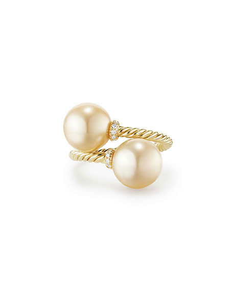 Solari 18k Pearl Bypass Ring w/ Diamonds, Size 8