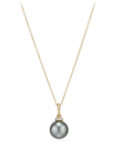 Solari 18k Pearl Pendant Necklace w/ Diamonds