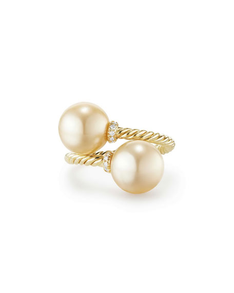 Solari 18k Pearl Bypass Ring w/ Diamonds, Size 6