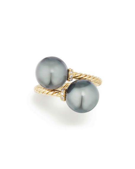 Solari 18k Tahitian Pearl Bypass Ring w/ Diamonds, Size 8