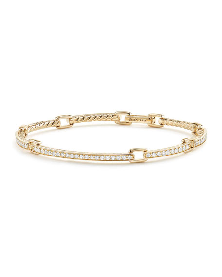Petite Pavé Diamond Link Bracelet in 18k Yellow Gold, Size Large