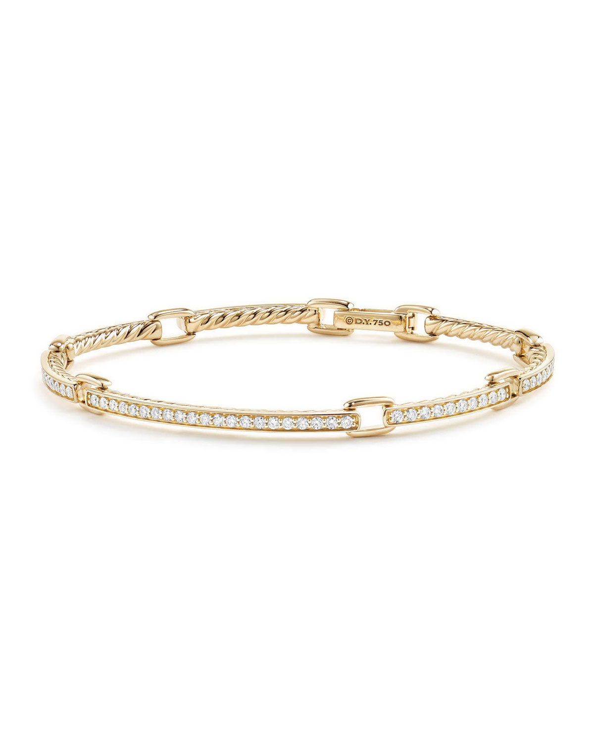 Pee Pave Diamond Link Bracelet In 18k Yellow Gold Size Large