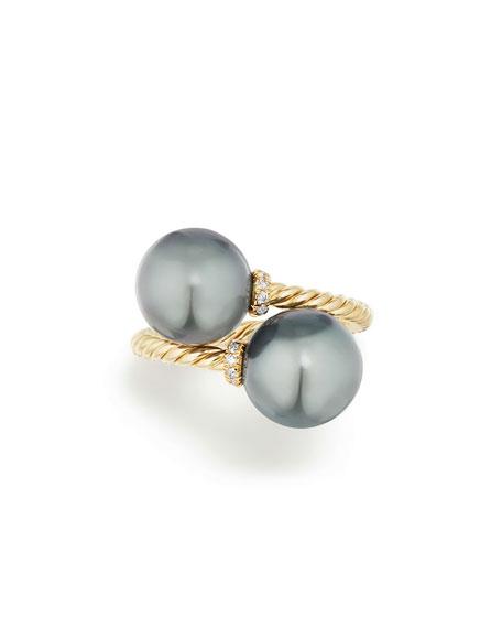 Solari 18k Tahitian Pearl Bypass Ring w/ Diamonds, Size 7