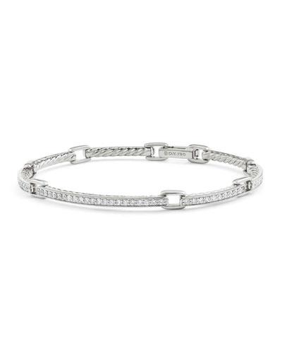 Petite Pavé Diamond Link Bracelet in 18k White Gold, Size Medium
