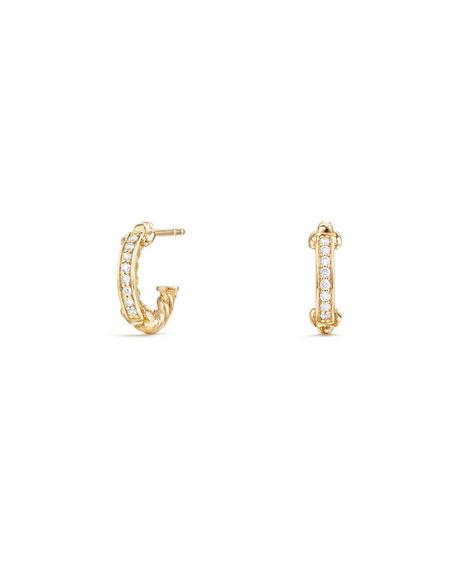 Petite Pavé Hoop Earrings w/ Diamonds in 18k Yellow Gold