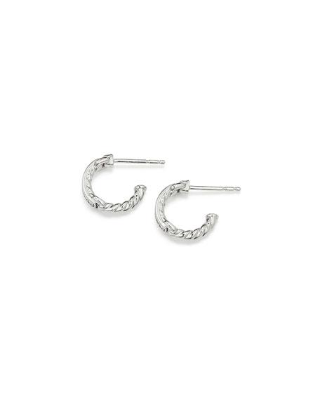 Petite Pave Hoop Earrings w/ Diamonds in 18k White Gold