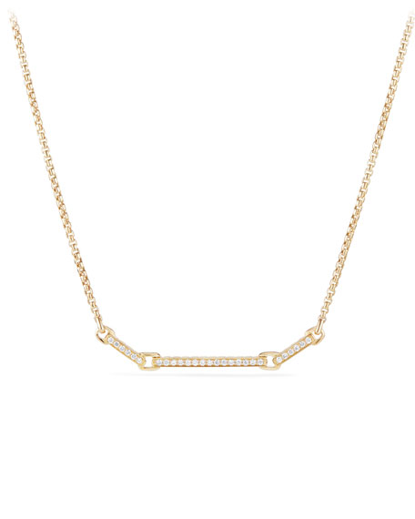 Petite Pave Diamond Bar Necklace in 18k Yellow Gold
