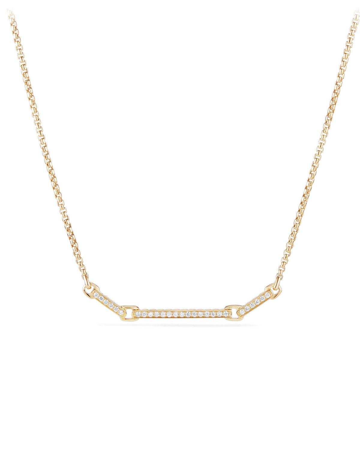 1bf873de521f David Yurman Petite Pave Diamond Bar Necklace in 18k Yellow Gold ...
