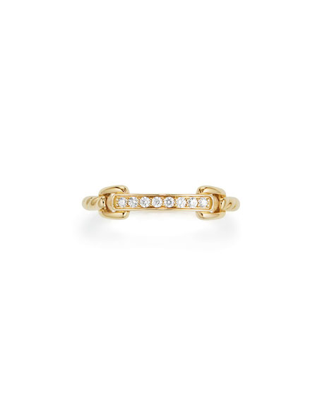 Petite Pavé Bar Ring w/ Diamonds in 18k Yellow Gold, Size 5