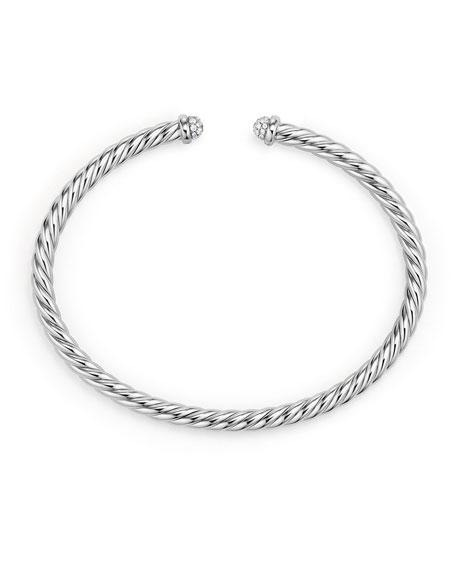 4mm CableSpira Bracelet in 18k White Gold w/ Diamonds