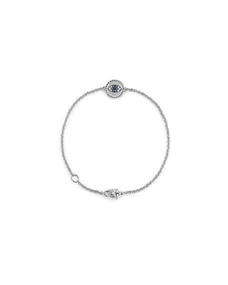 18k Cable Collectibles Evil Eye Bracelet, White Gold