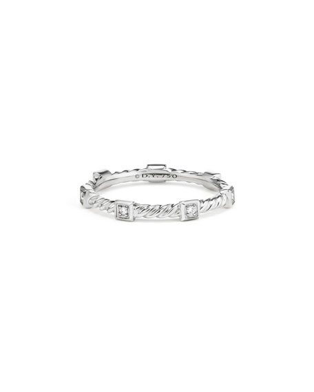 Cable Collectibles Stacking Band Ring w/ Diamonds in 18k White Gold, Size 6