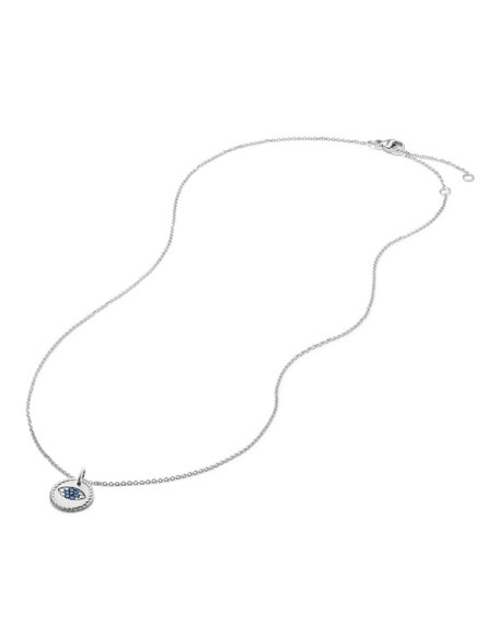 18k Cable Collectibles Evil Eye Necklace, White Gold