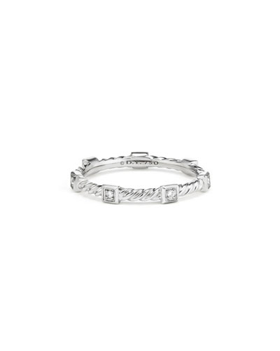 Cable Collectibles Stacking Band Ring w/ Diamonds in 18k White Gold, Size 8